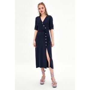 Zara Navy Side Button Midi Dress Belted Waist XS